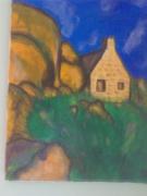 tableau paysages bretagne bruyere maison pierre : granite rose