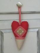 artisanat dart autres shabby chis vintage vichy rouge cuisine fenetre port coeur : coeur decoratif pour poignée de porte dans les tons de beige et