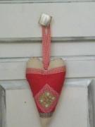 artisanat dart autres coeur ornement shabby chic vichy cuisine : coeur ornement decoratif pour poignée de porte rouge et beige