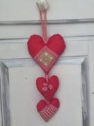 artisanat dart autres coeur guirlande romantique shabby chic vichy : Trois coeurs
