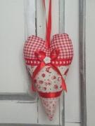 artisanat dart autres tissu coeur ornement poignee de meuble : coeur ornement decoratif pour poignée de porte rouge et blanc