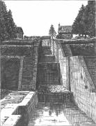 dessin autres ecluses rogny escalier eau : Les Sept Ecluses