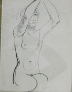 dessin nus nu femme genou encre : pardon