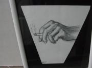 dessin scene de genre cigarette main fusain fumee : illusion