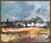 tableau paysages : village a l'horizon