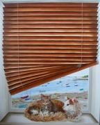 tableau mer chat peinture trompe l œil : Au bord du golfe du Morbihan81x65 cm) Au bord du golfe du Morbih