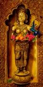 tableau autres deesse faux bois niche statue orientale : L'offrande ( 90x46 cm) © ADAGP