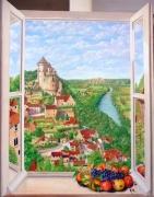 tableau paysages trompe l œil dordogne fenetre castelnaud : Les chemins de la paix (110x87 cm) © ADAGP