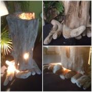 deco design nature morte : lampe bois flotté (piéce unique)