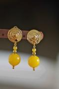 "bijoux autres clips dores jade teinte quotdu : Clips dorés jade teinté ""dune"""