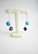 """bijoux : Boucles d'oreille collection """"Dés"""" - duo - bleu"""