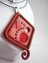 Collier pendentif en pâte polymère géométrique, cuivrée & ro