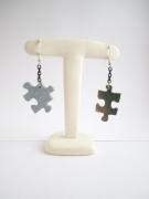 bijoux : Boucles d'oreille atypique pièces de puzzle (parure puzzle)