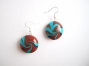 """bijoux : Boucles d'oreille collection """"Swirl"""" bleu, marron"""