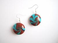 "Boucles d'oreille collection ""Swirl"" bleu, marron"
