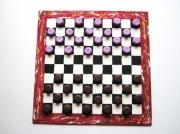"""mixte : Jeu de dame """"Macaron chocolat / violette """" peint à la"""