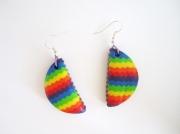 bijoux : Boucles d'oreille rainbow demi cercle en pâte polymère