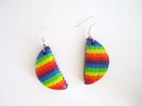Boucles d'oreille rainbow demi cercle en pâte polymère