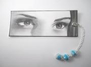 mixte : Marque-page personnalisable dessin d'un regard + perles fim