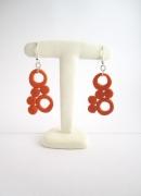 bijoux abstrait : Boucles d'oreille géométrique ronde orange