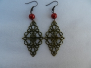 bijoux autres bijoux fantaisie boucles d orei estampe cuivree : boucles d' oreilles