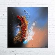 tableau abstrait tableau absrtait peinture relief : FRONTIERE