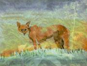 art numerique animaux renard : renard sur la route