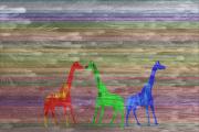 art numerique animaux girafe : rouge, vert et bleu