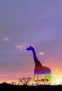 art numerique animaux girafe : girafe et soleil couchant