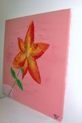tableau fleurs fleur lys impressionisme rose : lys