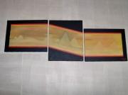 tableau abstrait egypte abstrait pyramide triptyque : sans titre