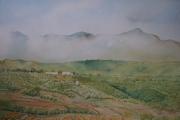 tableau nuage montagne bois d olivier : impression de Ronda en Espagne