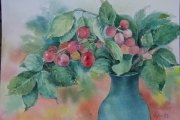 tableau fruits cerise : cerise dans le vase