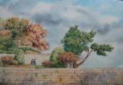 tableau paysages bois soleil mur de soutelement : Avignon