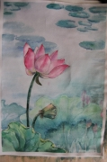 tableau fleurs : lotus en printemps