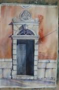 tableau architecture : porte de la maison a Venise