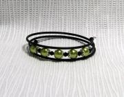bijoux autres bracelet 3 rangs moderne vert anis : bracelet tendance 3 rangs vert anis et noir