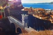 tableau paysages blanchard paysage architecture monument : Le pont de l'horloge
