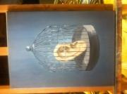 tableau nature morte blanchard surrealiste personnage portrait : L'oreille en cage