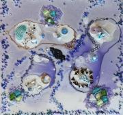 tableau abstrait vert bleu clair blanc violet : LUMIERE 1819