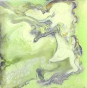 tableau abstrait jaune vert argent : GALAXIES 1791