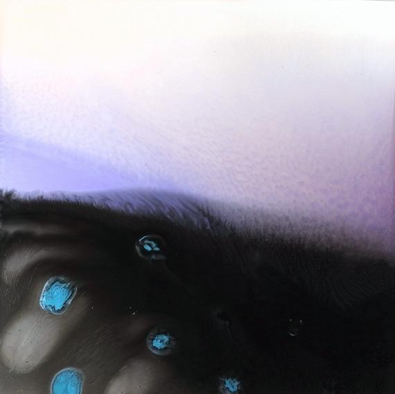 TABLEAU PEINTURE NOIR BLEU CLAIR nacre BLEU Abstrait  - GALAXIE 1783
