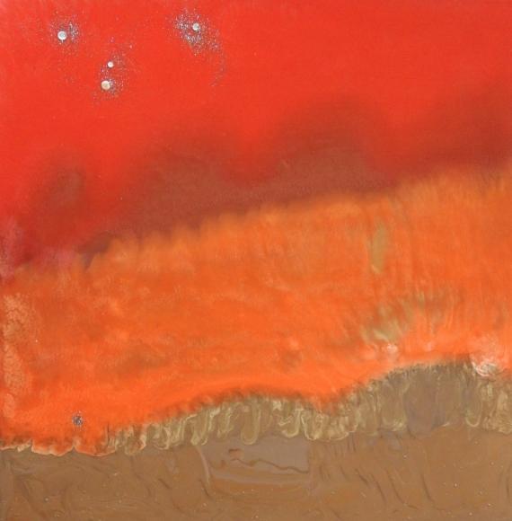 TABLEAU PEINTURE ROUGE POURPRE BRUN ORANGE Abstrait  - GALAXIESB 1819
