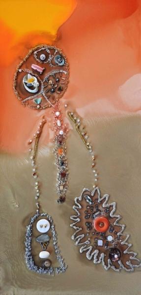 TABLEAU PEINTURE IRIDESCE BLANC ORANGE MARRON Abstrait  - LUMIERE 1822