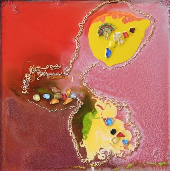 TABLEAU PEINTURE ROUGE jaune VERT NACRE Abstrait  - GALAXIESB 1813