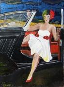 tableau scene de genre femme vintage voiture drame : Meet on national 7