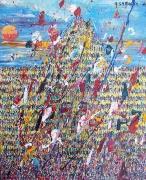 tableau abstrait personnage foule jaune explosion : Explosion démographique