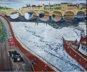 tableau scene de genre paris seine vintage voiture : Virée sur la Seine