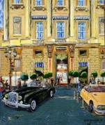 tableau scene de genre voiture bentley paris palace : rendez-vous à la Concorde
