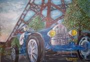 tableau scene de genre voiture vintage vitesse bugatti : les dames de fer